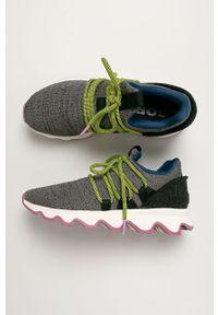 Szare buty sportowe sorel z cholewką, na sznurówki