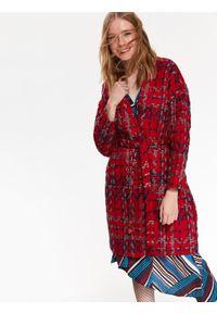 Czerwony płaszcz TOP SECRET na zimę, z aplikacjami