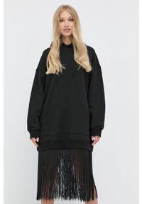 TwinSet - Twinset - Sukienka. Typ kołnierza: kaptur. Kolor: czarny. Materiał: dzianina. Długość rękawa: długi rękaw