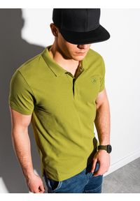 Zielona koszulka polo Ombre Clothing z haftami, klasyczna, polo