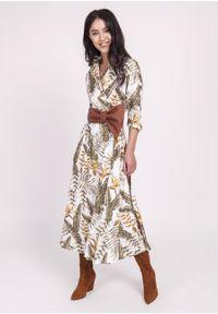 e-margeritka - Sukienka midi rozkloszowana w liście - 36. Materiał: skóra, materiał, poliester. Typ sukienki: kopertowe, rozkloszowane. Styl: elegancki. Długość: midi