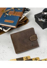 BUFFALO WILD - Skórzany portfel męski brązowy Buffalo Wild RM-05L-HBW BROWN. Kolor: brązowy. Materiał: skóra