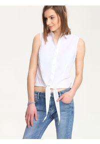 Biała bluzka TROLL w kolorowe wzory, krótka, z koszulowym kołnierzykiem #6