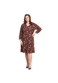Sukienka dla puszystych Moda Size Plus Iwanek w kwiaty, klasyczna, na co dzień, z dekoltem w kształcie v