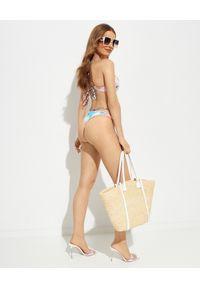 DEL MAAR - Dół od bikini Niraq. Kolor: niebieski. Materiał: materiał. Wzór: kwiaty, nadruk