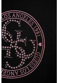Czarna bluza Guess Jeans z okrągłym kołnierzem, casualowa