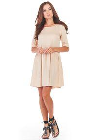 Beżowa sukienka rozkloszowana Awama mini