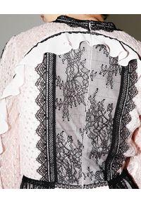 Czarna sukienka z długim rękawem, na imprezę, midi, w koronkowe wzory
