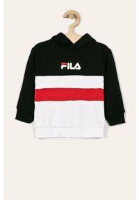 Czarna bluza Fila z nadrukiem, z kapturem, na co dzień