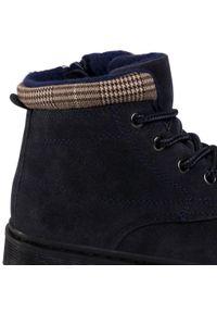 Niebieskie buty zimowe Action Boy z cholewką przed kolano, z cholewką