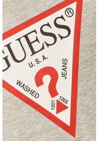 Szara koszulka z długim rękawem Guess z nadrukiem, na co dzień, casualowa