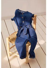 Niebieski kombinezon Mango Kids krótki, z krótkim rękawem, gładki