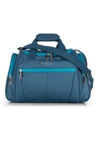 Wittchen - Średnia miękka torba podróżna dwukolorowa. Kolor: niebieski. Materiał: poliester