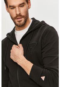 Czarna bluza rozpinana Guess casualowa, na co dzień, z aplikacjami
