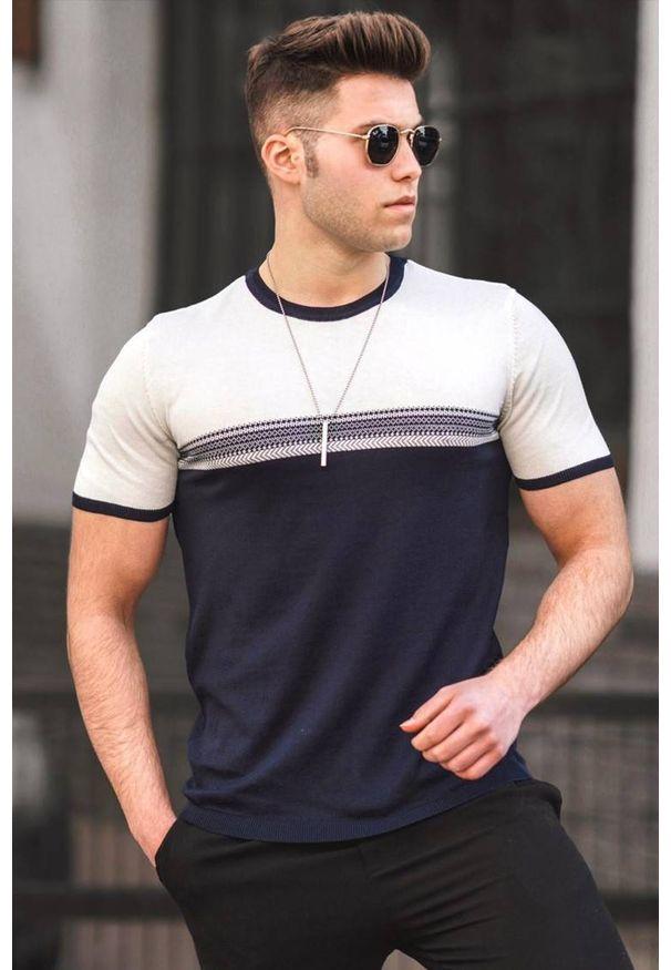 IVET - T-shirt męski JULIEN WHITE. Okazja: na co dzień. Kolor: niebieski, wielokolorowy, biały. Materiał: bawełna, materiał, jeans. Styl: casual, klasyczny