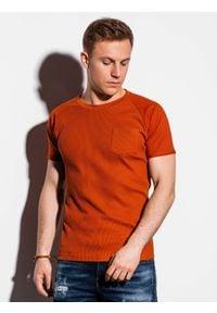 Ombre Clothing - T-shirt męski bez nadruku S1182 - ceglasty - XXL. Kolor: czerwony. Materiał: bawełna, tkanina, poliester. Styl: klasyczny