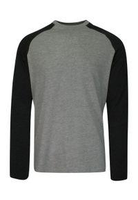 Brave Soul - Dwukolorowy T-Shirt Męski, Szaro-Czarny, Koszulka z Długim Rękawem, Longsleeve -BRAVE SOUL. Okazja: na co dzień. Kolor: wielokolorowy, czarny, szary. Materiał: bawełna, wiskoza. Długość rękawa: długi rękaw. Długość: długie. Sezon: jesień, zima. Styl: klasyczny, casual