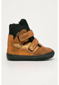Złote buty zimowe Mrugała z cholewką, na rzepy, z okrągłym noskiem