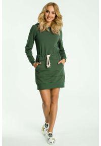 Zielona sukienka dresowa MOE mini, sportowa, sportowa