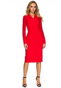 Style - Koktajlowa sukienka z szyfonowymi rękawami i dekoltem V. Typ kołnierza: dekolt w kształcie V. Materiał: szyfon. Styl: wizytowy