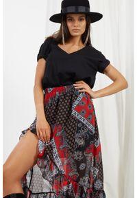 e-margeritka - Długa zwiewna spódnica z falbaną i z jedwabiem - druk 22, m. Materiał: jedwab. Długość: długie