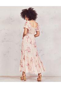 LOVE SHACK FANCY - Sukienka z jedwabiu Angie. Kolor: fioletowy, różowy, wielokolorowy. Materiał: jedwab. Wzór: nadruk, kwiaty, aplikacja. Długość: maxi