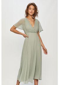 Zielona sukienka Vila z krótkim rękawem, maxi, rozkloszowana, gładkie