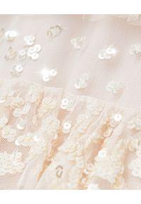 NEEDLE & THREAD - Błyszcząca sukienka Eloise Ballerina. Kolor: beżowy. Materiał: tiul. Wzór: aplikacja. Długość: midi