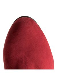 R.Polański - Muszkieterki R.POLAŃSKI - 0761 Czerwony Zamsz. Kolor: czerwony. Materiał: materiał. Szerokość cholewki: normalna. Obcas: na obcasie. Wysokość obcasa: średni