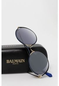 Niebieskie okulary przeciwsłoneczne Balmain okrągłe, gładkie