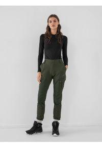 4f - Spodnie trekkingowe damskie. Kolor: oliwkowy, brązowy, wielokolorowy. Materiał: tkanina, dzianina, materiał