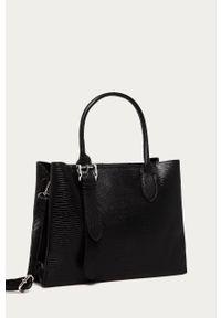 Czarna shopperka Answear Lab skórzana, wakacyjna, gładkie, duża