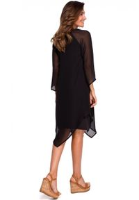 Style - Koktajlowa szyfonowa asymetryczna sukienka BOHO. Okazja: na randkę, na ślub cywilny, na wesele, na imprezę. Materiał: szyfon. Typ sukienki: asymetryczne. Styl: boho, wizytowy