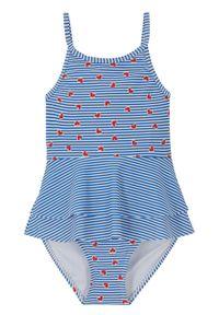 Kostium kąpielowy dziewczęcy bonprix niebieski. Kolor: niebieski. Wzór: nadruk