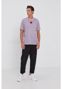 Hugo - T-shirt bawełniany. Okazja: na co dzień. Kolor: fioletowy. Materiał: bawełna. Wzór: gładki. Styl: casual