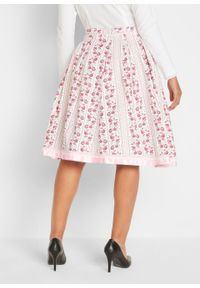 Spódnica w ludowym stylu bonprix biel wełny - pudrowy jasnoróżowy w kwiaty. Kolor: biały. Materiał: wełna. Wzór: kwiaty