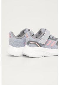 Szare buty sportowe Adidas na rzepy, z cholewką