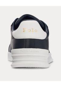 Ralph Lauren - RALPH LAUREN - Granatowe sneakersy Heritage Court II. Nosek buta: okrągły. Kolor: niebieski. Materiał: guma. Wzór: napisy, haft