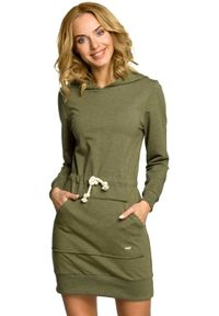 MOE - Sportowa sukienka z kapturem i kieszenią kangurek. Typ kołnierza: kaptur. Materiał: bawełna, lycra, materiał. Długość rękawa: długi rękaw. Typ sukienki: sportowe. Styl: sportowy