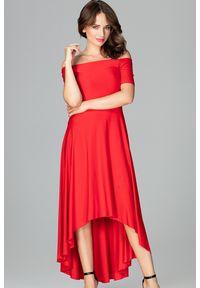 Sukienka koktajlowa gładkie, z odkrytymi ramionami, elegancka