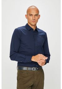 Niebieska koszula Tommy Jeans z klasycznym kołnierzykiem, na co dzień, casualowa, długa
