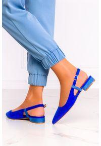 Casu - Granatowe baleriny casu z odkrytą piętą skórzana wkładka d21x3/n. Kolor: niebieski. Materiał: skóra