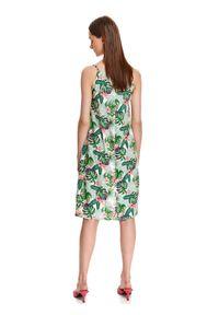 TOP SECRET - Luźna sukienka na ramiączkach w egzotyczny nadruk. Długość rękawa: na ramiączkach. Wzór: nadruk. Typ sukienki: koszulowe