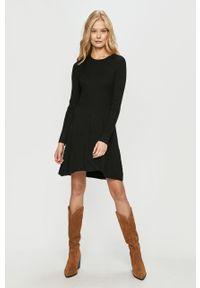 Czarna sukienka only mini, z długim rękawem, prosta, casualowa