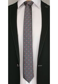 Szary krawat Angelo di Monti elegancki, w geometryczne wzory