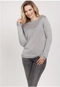 MKM - Sweterek z Ozdobnymi Ściągaczami - Szary. Kolor: szary. Materiał: akryl, wiskoza