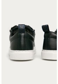 Niebieskie sneakersy Hugo z okrągłym noskiem, na sznurówki, z cholewką