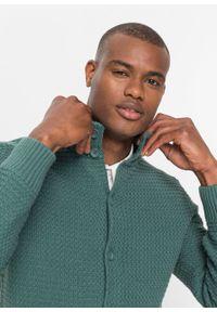 Sweter rozpinany bonprix zielony. Kolor: zielony