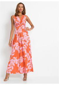 Letnia długa sukienka bonprix pomarańczowo-różowy w roślinny wzór. Kolor: pomarańczowy. Wzór: nadruk. Sezon: lato. Długość: maxi #6
