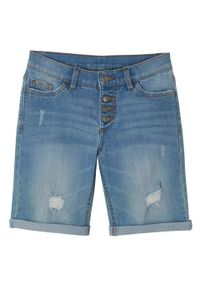 """Szorty dziewczęce dżinsowe ze stretchem bonprix niebieski """"bleached"""". Kolor: niebieski"""